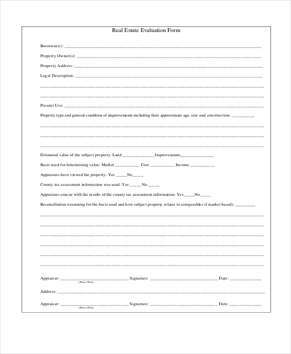 real estate evaluation form