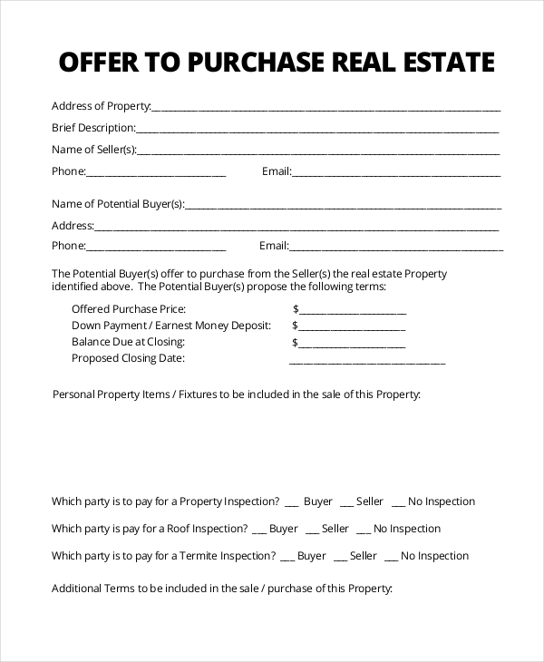 Sample real estate form 16 free documents in pdf for Offer to purchase contract template