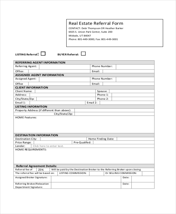 real estate referral form