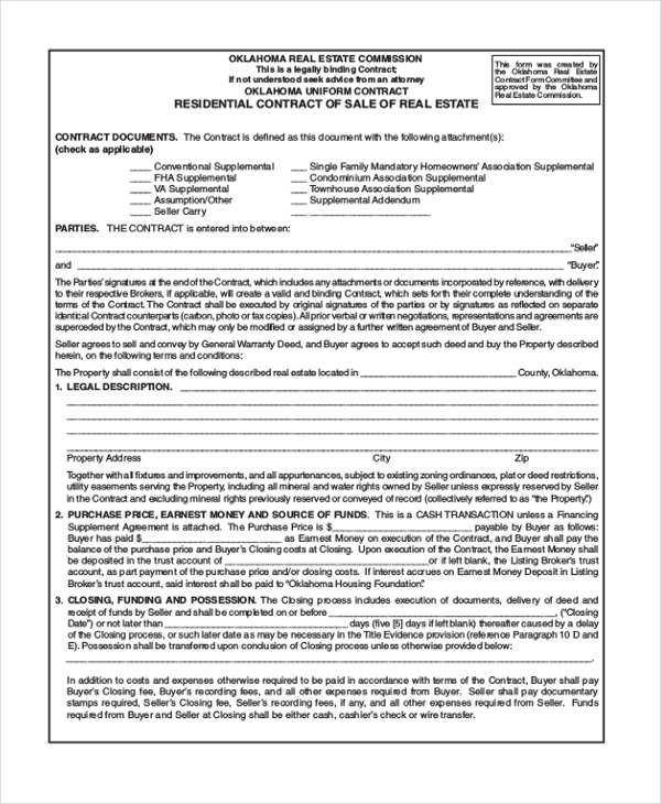 real estate sales contract form
