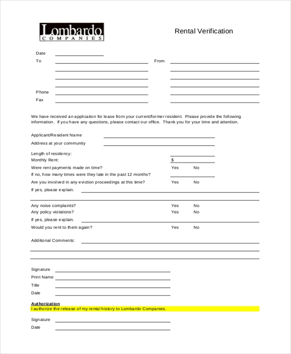 rental verification form