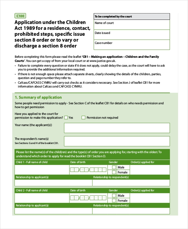 residence order form