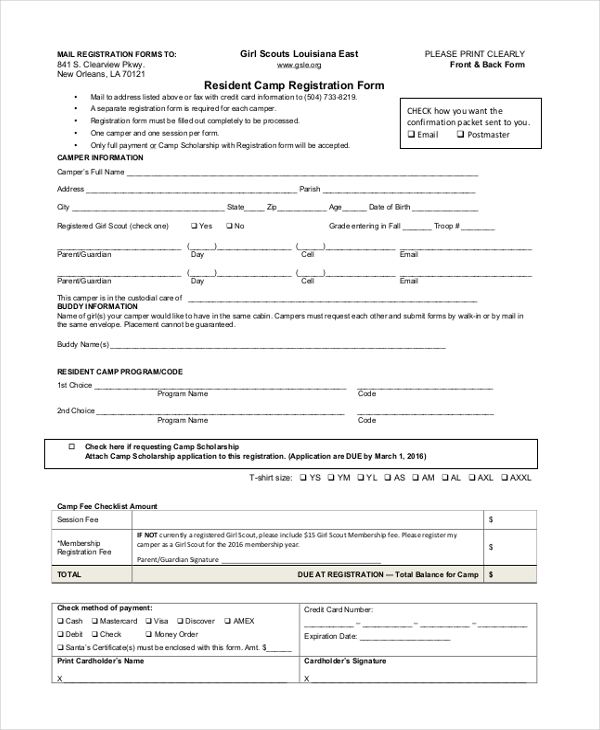 resident camp registration form