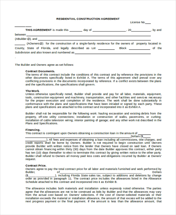 Sample Construction Agreement Forms   Free Documents In Word Pdf