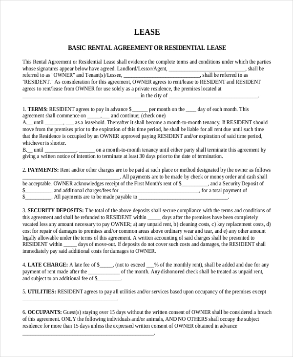 residential lease amendment