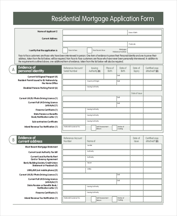 Mortgage Application Form   Free Documents In Pdf Doc