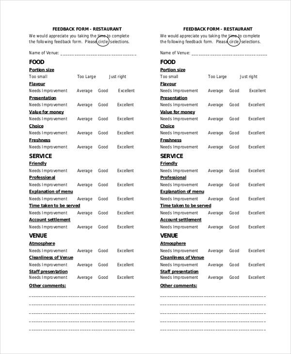 restaurant feedback form