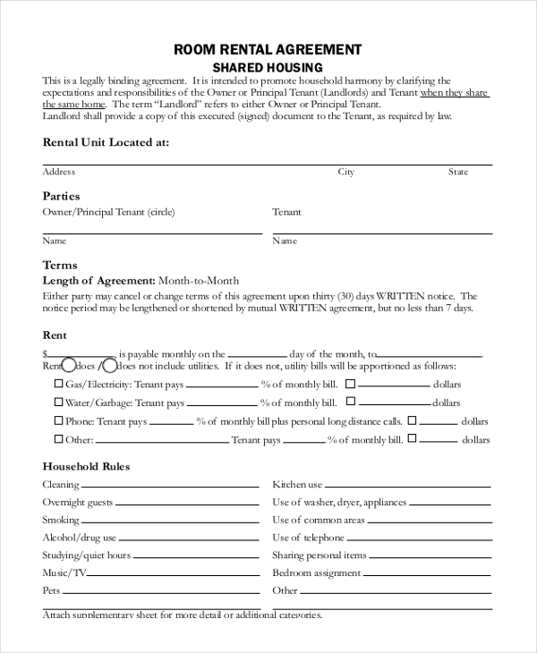 Sample Room Rental Lease Form