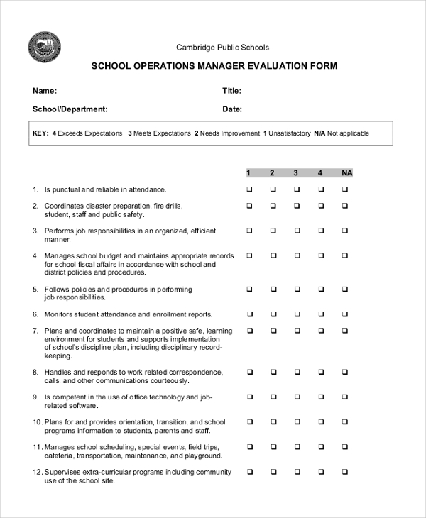 Sample School Evaluation Form 11 Free Documents in Word PDF – Sample Manager Evaluation