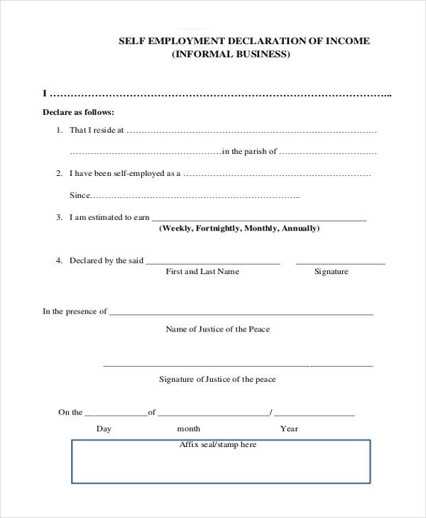 Sample Self Employment Form 9 Free Documents In Pdf