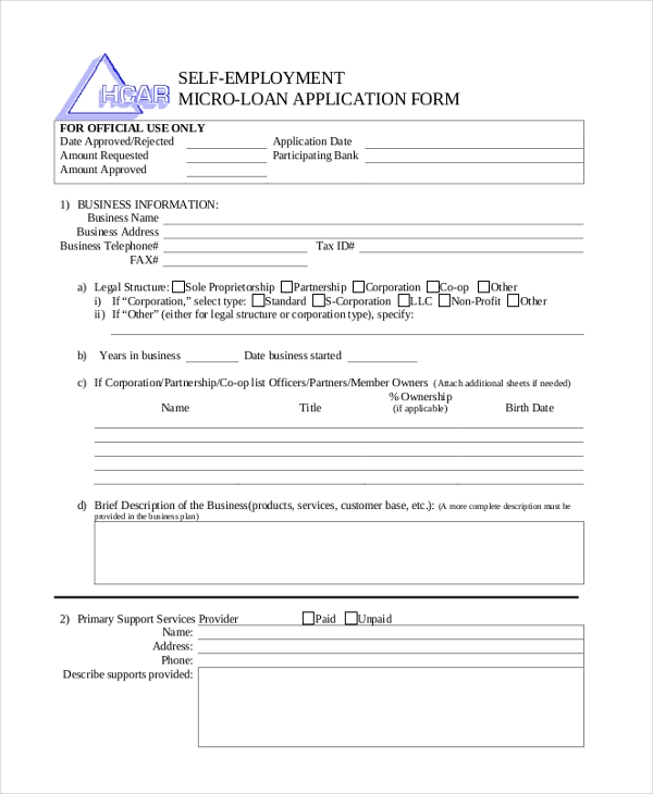 self employment micro loan application form