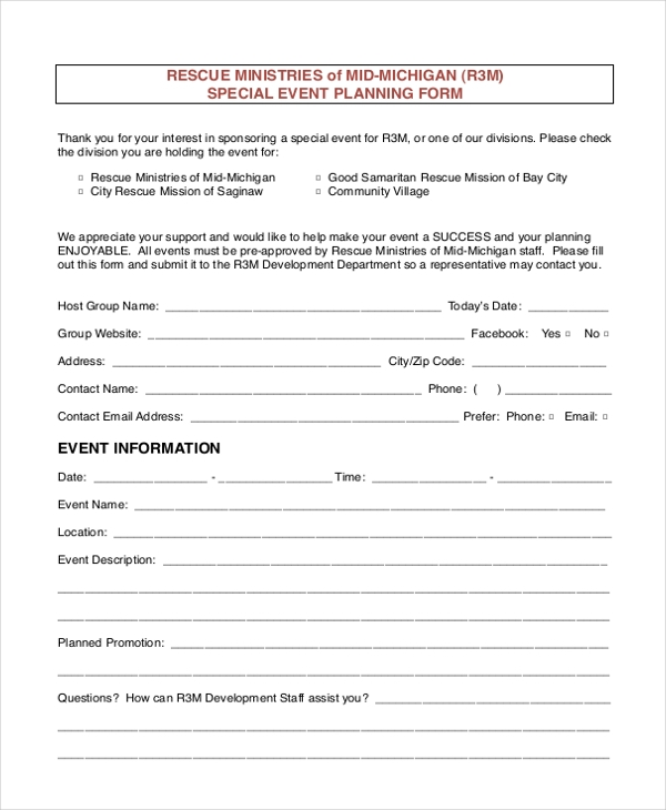 special event planning form