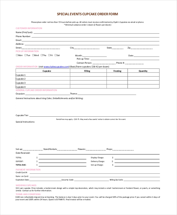 Sample Cupcake Order Form   Free Documents In Pdf