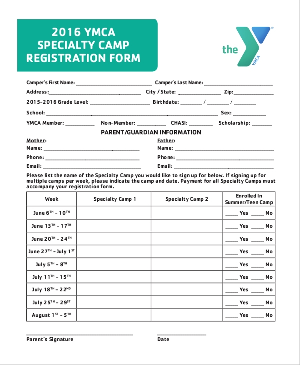 specialty camp registration form