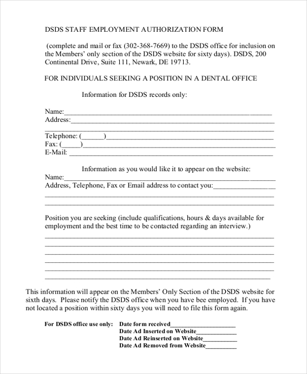 Sample Employment Authorization Form 10 Free Documents in Word PDF – Sample Employment Authorization Form