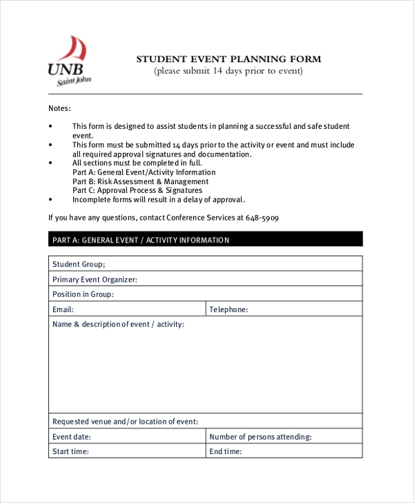 student event planning form