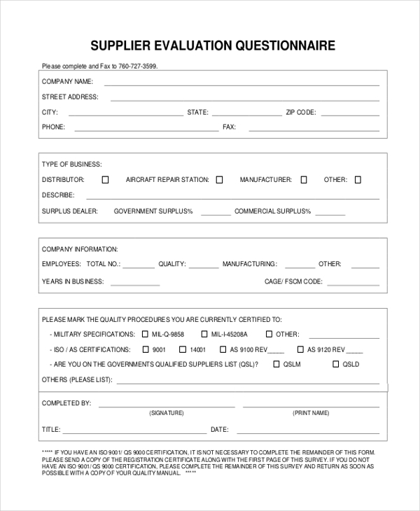 Supplier Evaluation Questionnaire Form