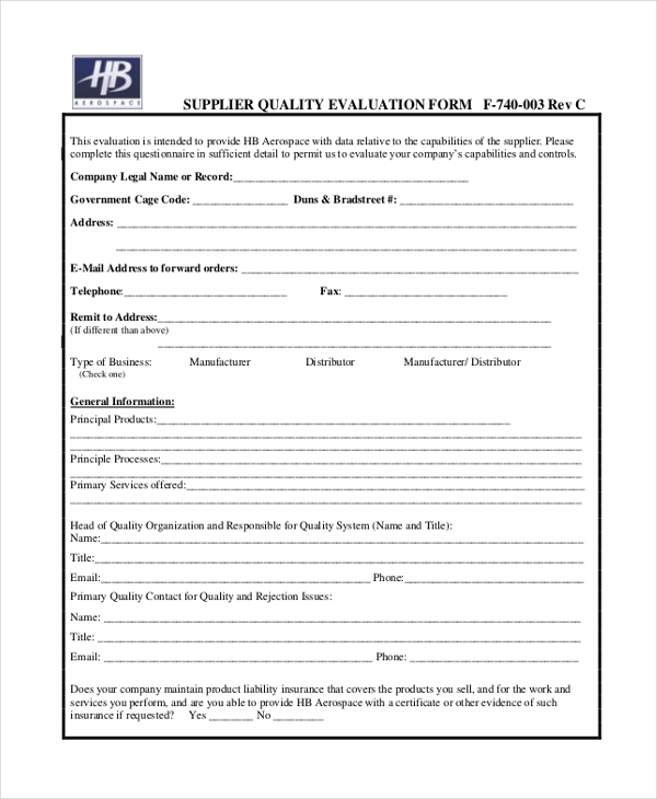 supplier quality evaluation form