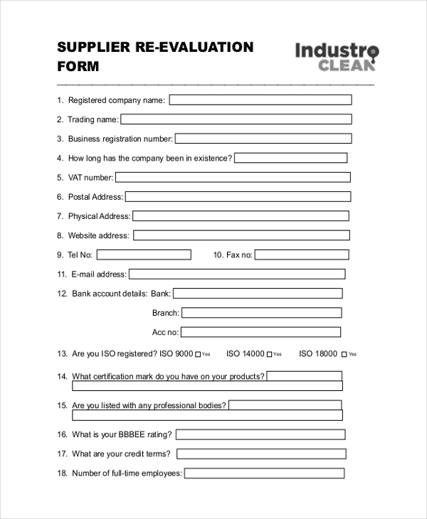 supplier re evaluation form