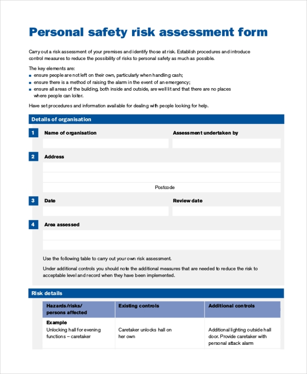 safety risk assessment form