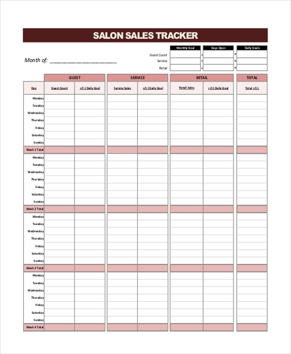 salon sales tracker form
