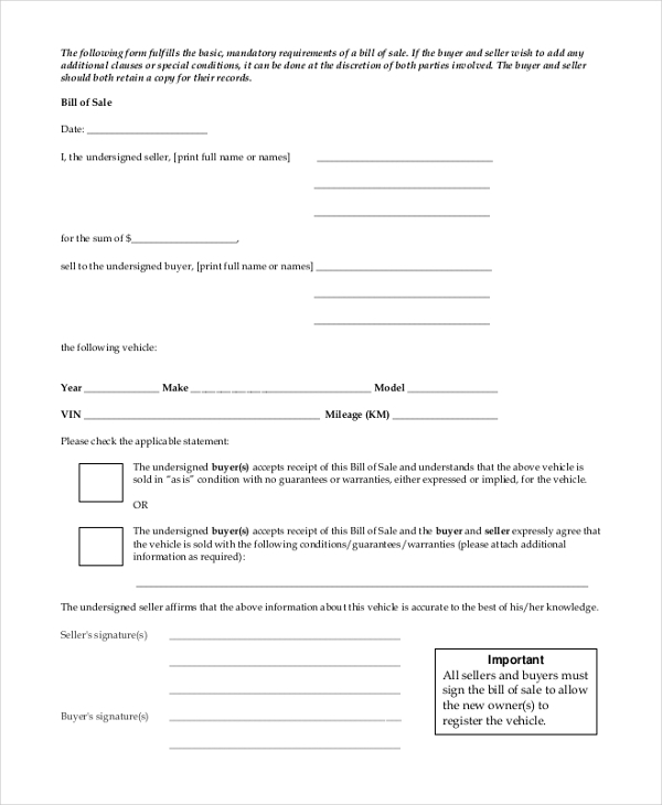 Sample Bill Of Sale Form