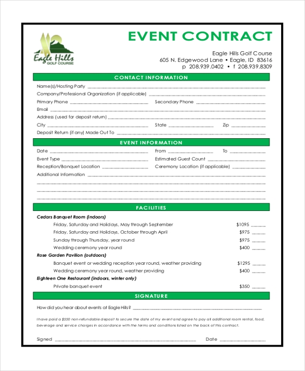 Sample event contract form 10 free documents in word pdf for Event management agreement template