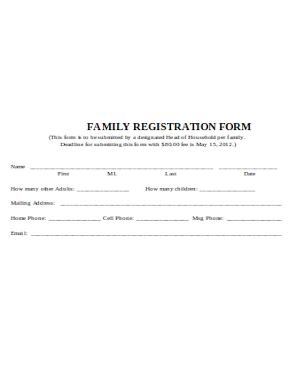 sample family reunion registration form