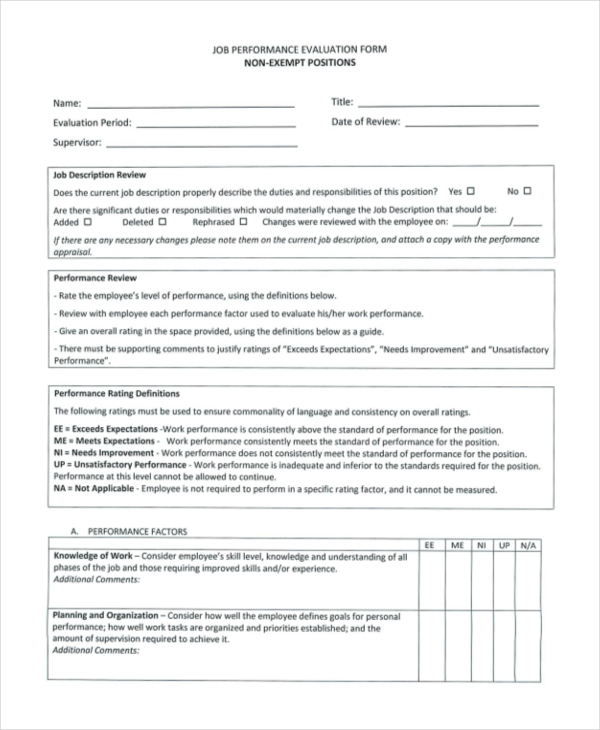 Sample Job Performance Evaluation Forms 10 Free Documents in – Performance Evaluation Sample