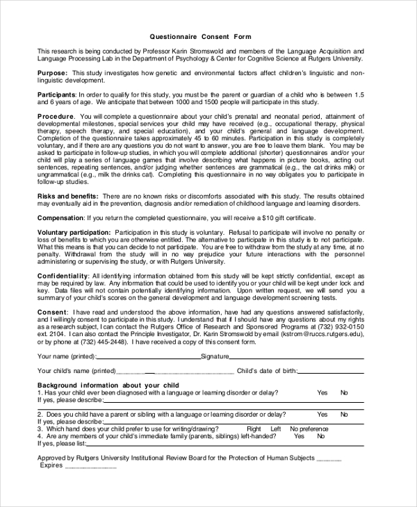 Questionnaire Consent Forms   Free Documents In Word Pdf