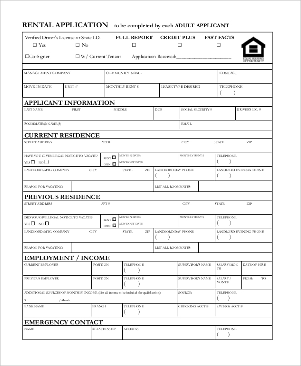 sample rental application form