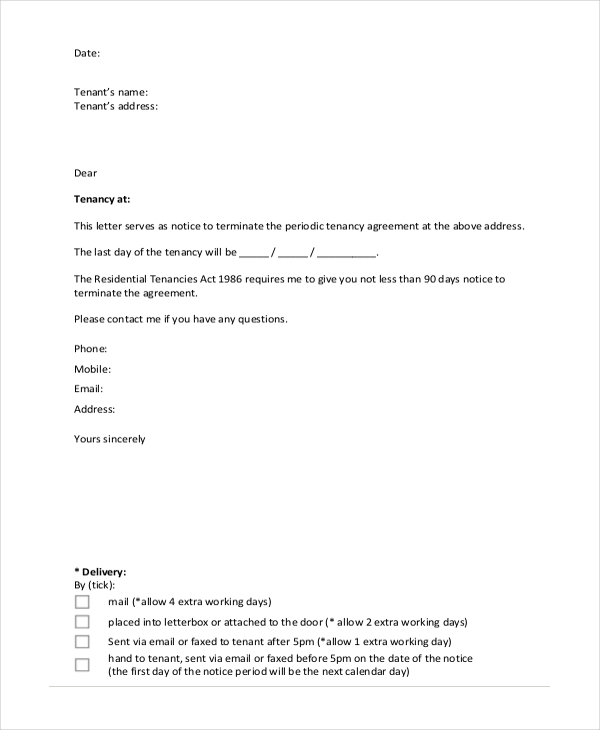sample notice to terminate tenancy agreement form