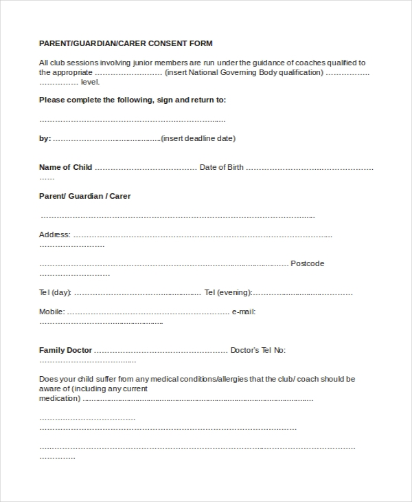 Sample parental consent form 10 free documents in word pdf sample parent consent form thecheapjerseys