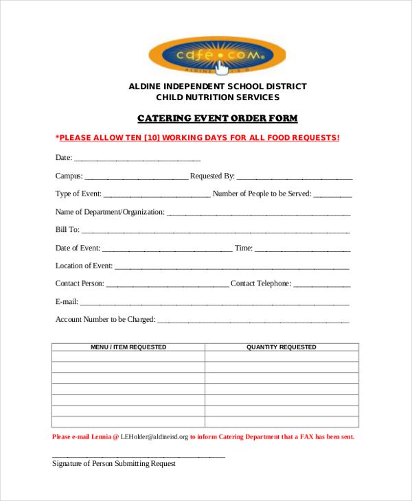 samplecatering event order form