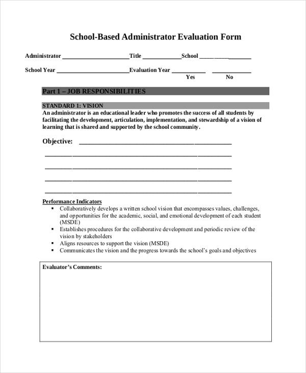 school based administrator evaluation form