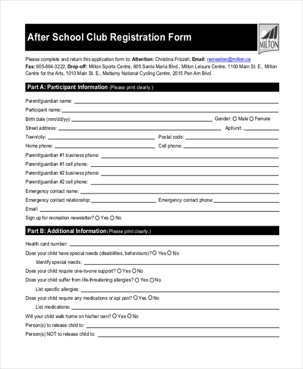 Sample School Registration Form 10 Free Documents in PDF – School Registration Form Sample