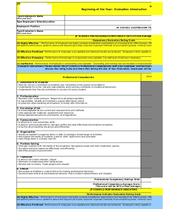 school teacher evaluation form