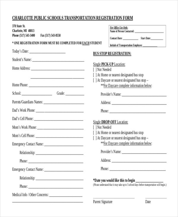 school transport registration form