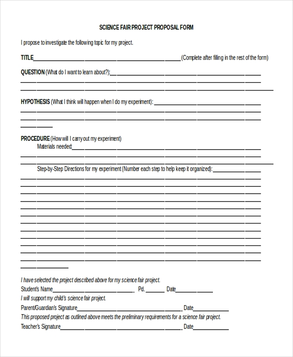 science fair proposal form