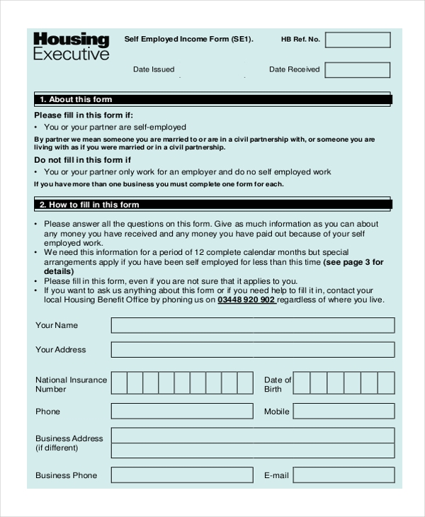 self employed income form1