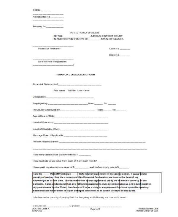 self employment disclosure form
