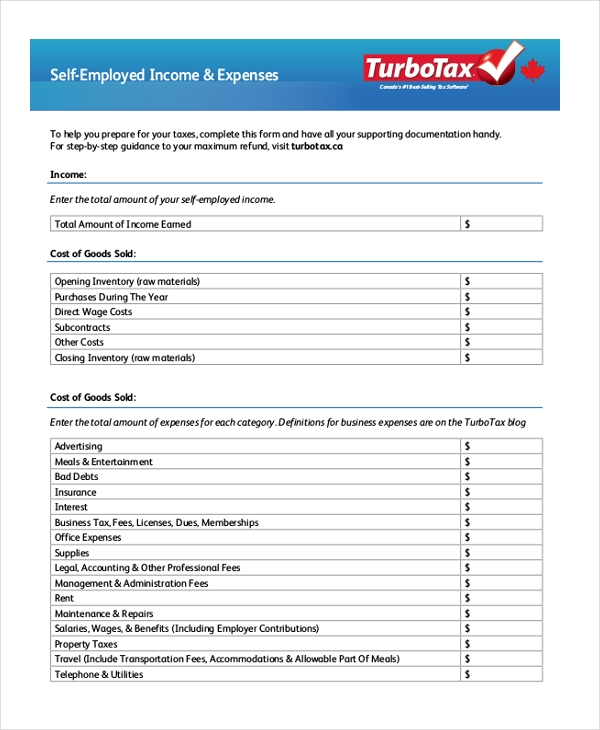 self employment expenses form