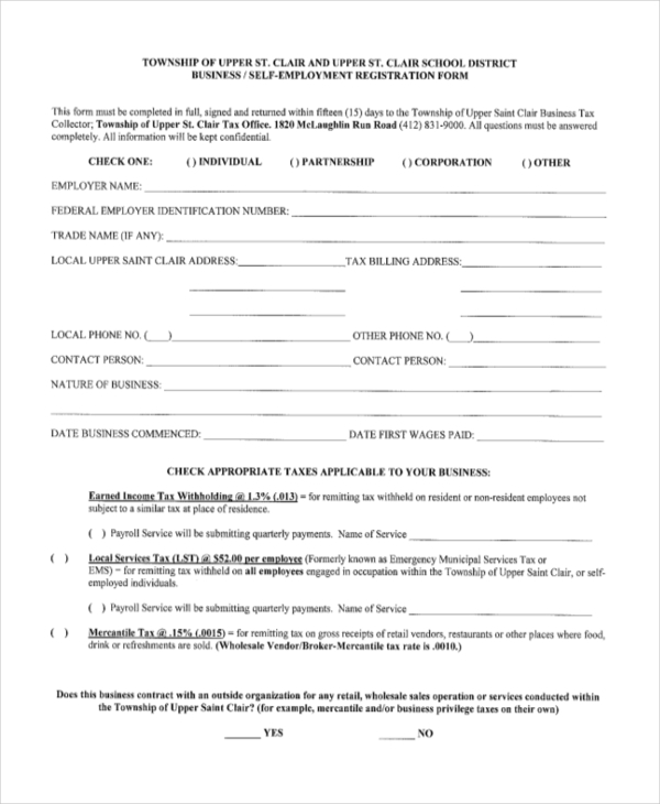 self employment registration form