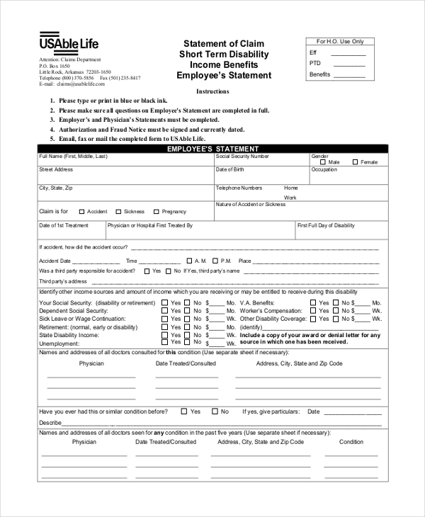 short term disability claim form