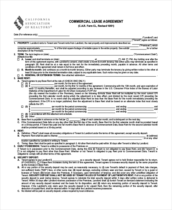 Free 8 Sample Commercial Lease Agreement Forms Pdf