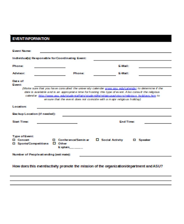 simple event planning form