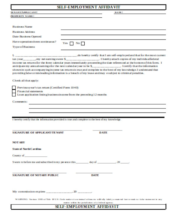 simple self employment form
