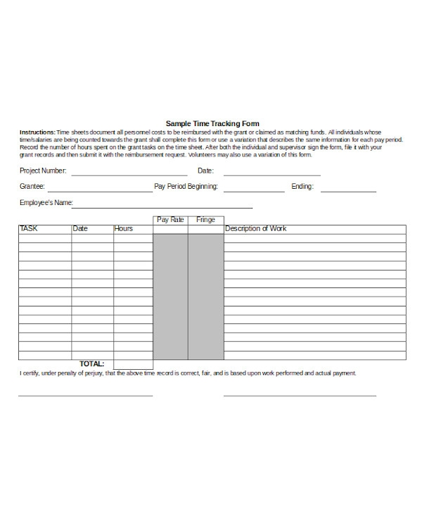 simple time tracking form