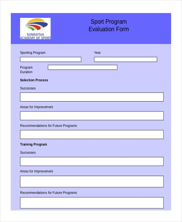 sport program evaluation form