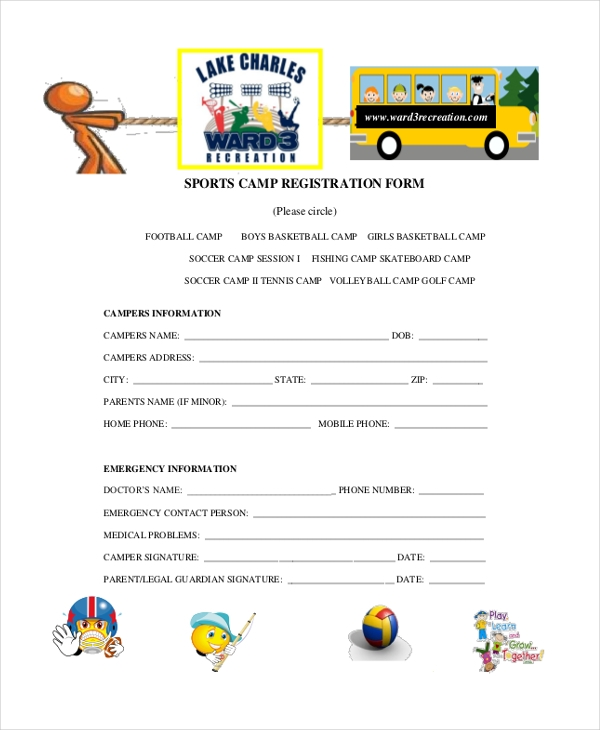 sports camp registration form